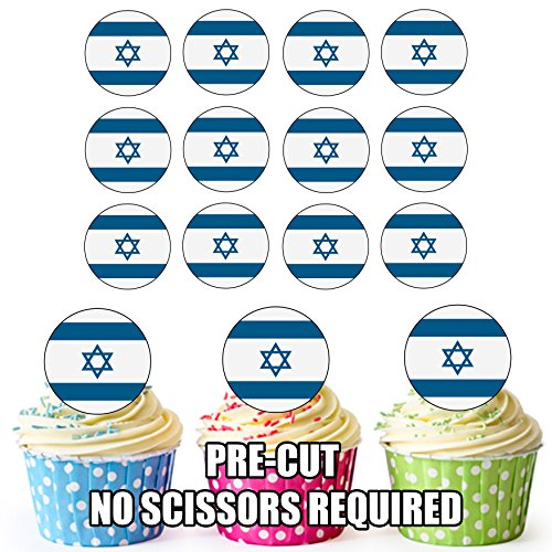 Israël Vlag - 24 Eetbare Cupcake Toppers/Verjaardag Cake Decoraties - Easy Precut Circles