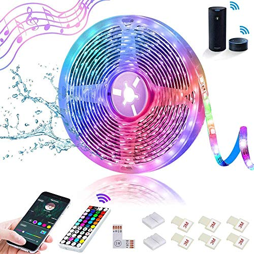 SHOPLED Smart WiFi LED Strip Lights Compatible with Alexa 16.4ft Waterproof Music Sync Color Changing Light Strip Kit, Wireless RGB LED Tape Lights for Kitchen, Bathroom, Party (Not Support 5G WiFi)