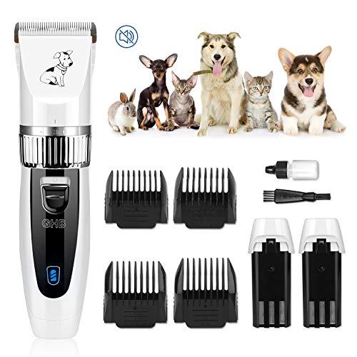 GHB Tierhaarschneider Hunde Schermaschine Hundeschermaschine Hunde Katzen Haustier Timmer mit 4 Aufsätze und 2 Wiederaufladbaren Akku
