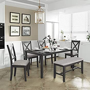 6 Piece Dining Table Set Wood Dining Dinette Table and 4 Chairs with 1 Bench with Cushion Rustic Style Kitchen Table Set for 6 Persons Gray