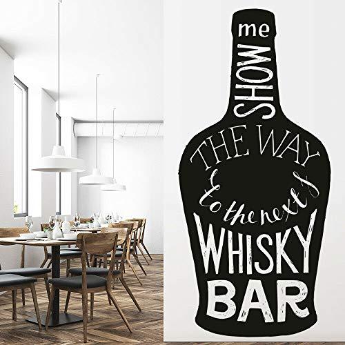 NSRJDSYT Calcomanía de Pared The Whisky Bar Alcohol Quote Decoración Interior Puerta Ventana Vinilo Pegatinas Botella de Vino Letras Arte Mural 57x121cm
