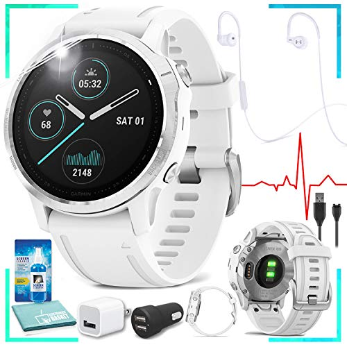Buy Garmin Fenix 6S Multisport GPS Smartwatch (White) with JBL Under Armour Heart-Rate (White) Headphones Bundle