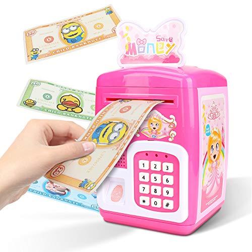 Maxjaa Caja de Dinero para los niños, niños Hucha Desplazamiento automático Caja de Dinero, con Pilas de la Caja de Dinero de plástico para niños con Cerradura de la contraseña y (Rosa)