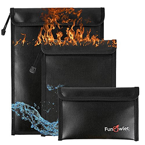 Fireproof Waterproof Money Document Bag - 3 Pack Safe Upgraded Zipper Bags, Fire & Water Resistant Storage Organizer Pouch for A4 A5 Documents Holder,File,Cash,Jewelry,Passport,Tablet,Laptop (Black)