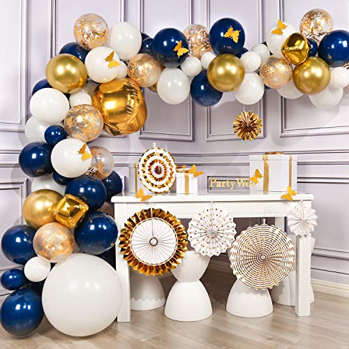 PartyWoo Navy and Gold Balloon Garland Kit, 90 pcs of 8 Paper Fans, Gold Tassel, Jumbo Confetti Balloons, Gold 4D Balloons, Jumbo White Balloons, White Gold Navy Blue Balloons for Navy Gold Party