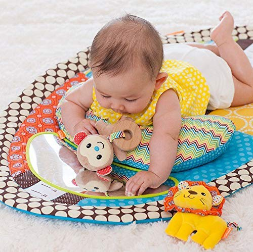 Musical Tummy Time Mat - Newborn Baby Play Mat With Plush Pillow - Safe Baby Mirror - Toys for Newborns - Changing Pad - Height Measure Chart - Easy to Clean Baby Gym Floor Mat Activity for Infants
