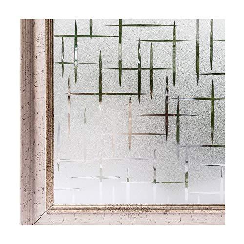 Film transparent dépoli pour fenêtre - Sans colle - CottonColors, Vinyle, Etoiles, 35.4Inx78.7In