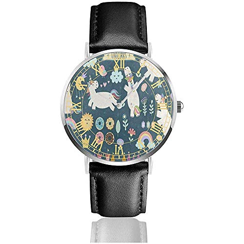 Orologio in pelle Unicron Donut Rainbow Cloud Flower Moon Sorprendenti orologi da polso al quarzo in acciaio inossidabile minimalista