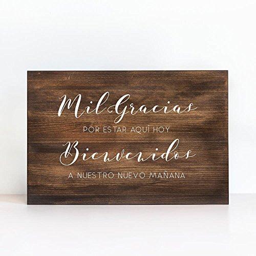 Cartel De Madera Mil Gracias Y Bienvenidos - Una Casa En El Árbol