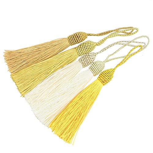 20 Unids 15.5 cm / 6 Pulgadas Silk Floss Marcador Borlas con 2 Pulgadas Cord Loop y Pequeño Nudo Chino para La Fabricación de Joyas, Recuerdo, Marcadores, Accesorio de Artesanía DIY (Mixto Amarillo)