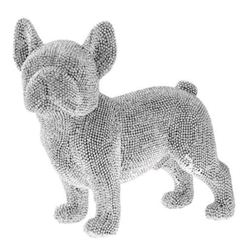 Collector Französische Bulldogge Figur, Funkelnde Silberne Stehen Haltung, ca. 20cm
