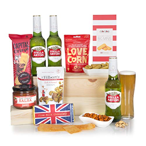 The Classic Beer and Bites Hamper - Beer Hampers - Stella Artois Lager Beer with Gourmet Food Gift Basket