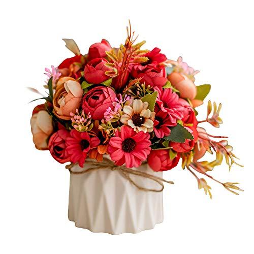 Sobotoo Arreglo de Flores Artificiales con jarrón para decoración del hogar, Accesorios para Sala de Estar, Mesa de Centro de Mesa, decoración de Interiores, para casa, Fiesta, Oficina, Boda