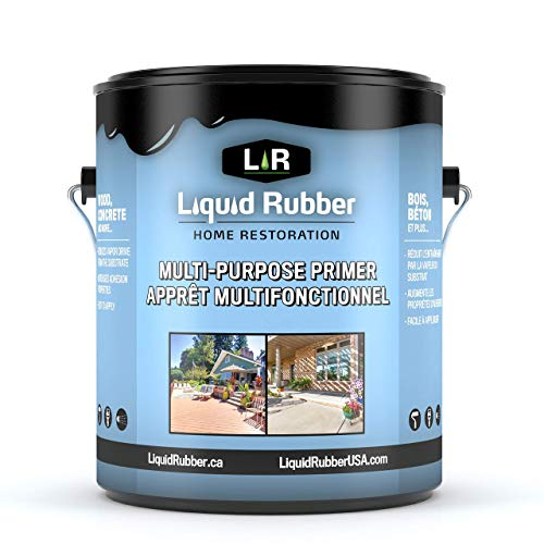 Liquid Rubber Multi-Purpose Primer - Use on Concrete and Wood, Water-Based Non-Toxic and Fast Drying, Easy to Apply, 1 Gallon