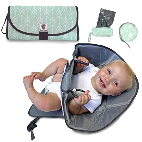 SnoofyBee Portable Clean Hands Changing Pad Bundle Set. Changing Station with Redirection Barrier for use with Infants, Babies and Toddlers. Matching Baggy Dispenser and Pacifier pod (Mint Arrow)