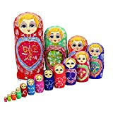 zdz Conjunto de 15 Matryoshka de Madera, 11.8 Pulgadas Muñecas de anidación Rusas de Juguete de Juguete de Alta Gama a Mano, para Christma, Regalo de cumpleaños (Color : Red)