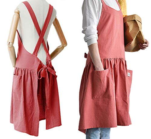 Women Girls Vintage Cute Apron Gardening Works Cross Back Cotton/Linen Blend Aprons Pinafore Dress with Two Pockets (red, (32