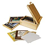 U.S. Art Supply 95 Piece Wood Box Easel Painting Set - Oil, Acrylic, Watercolor...