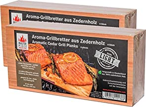 "Masterpiece 12 Grillbretter Light SIX"" - Grillbretter Zeder, 12 mm stark, Grillplanke Premium Qualität, Zwei Sets à 6 STK = 12 BBQ Räucherbretter Maße: 145 x 295 mm"