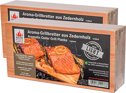 MASTER PIECE Light 12 Zeder 12 Grillbretter aus Zedernholz Grillplanken Premium Qualität, Set à 12 Stk, BBQ Zedernholzplanken im günstigen 12er Pack