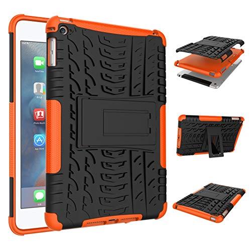 DWaybox Custodia for iPad Mini 5 Hybrid Rugged Heavy Duty Hard Back Custodia Cover with Kickstand Compatible with Apple iPad Mini 5/iPad Mini 4 7.9 inch (Orange)