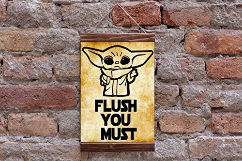 Baby Yoda Flush You Must Star Wars Funny Toilet Bathroom Wood Framed Canvas Print, Disney Darth Wader Yoda Jedi
