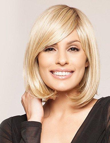 WJSW Europäisches Haar Neue charmante Bob Frisur Perücken Echthaar Monofilament Kurze kappenlose Perücken