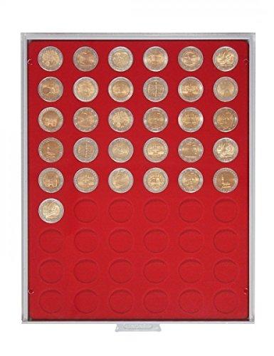 Lindner 2154 Münzbox mit 54 runden Vertiefungen für Münzen mit Ø 25,75 mm-Grau / rote Einlage