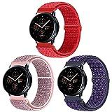KIBDSNG Pack de 3 correas de 20 mm compatibles con Samsung Galaxy Watch 3 41 mm/Galaxy Watch Active 2 40 mm 44 mm, correa de repuesto para Gear Sport/Gear S2 Classic/Garmin Vivoactive 3