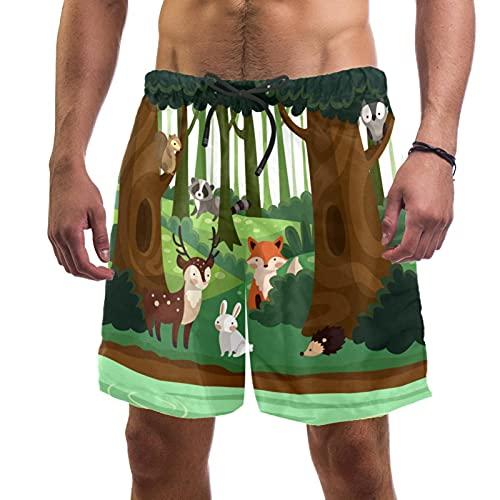 Concepto del ecosistema del bosque con animales encantadores trajes de baño playa surf pantalones cortos para hombres L, multicolor, Large-X-Large