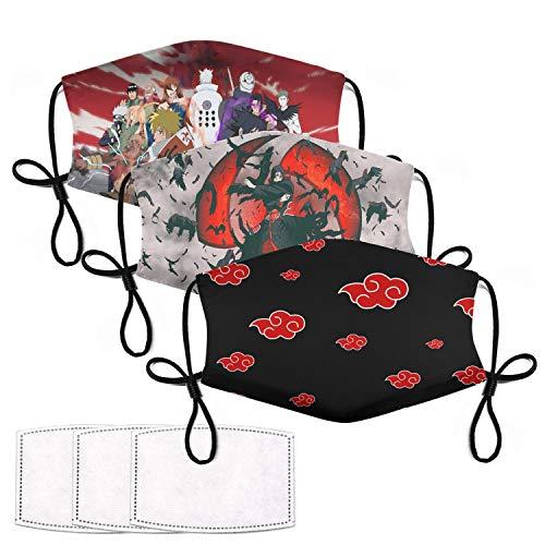 Butgtic 3PCS Naruto Face Masks Akatsuki Mask Shippuden Mask Dragon Ball Mask Sailor Moon Mask Anime Face Mask