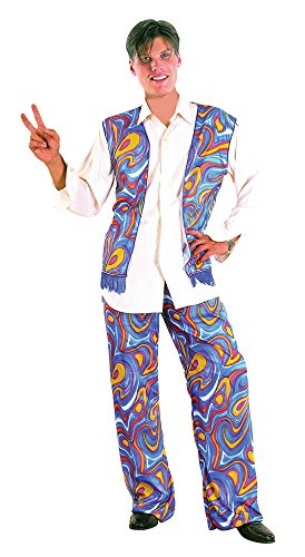 Hippy Man Woodstock Flower Power Costume. A great value costume that includes a psychedelic style waist coat with fringe trim and matching trousers. Add a funny hippy wig and medallion for a more complete look.