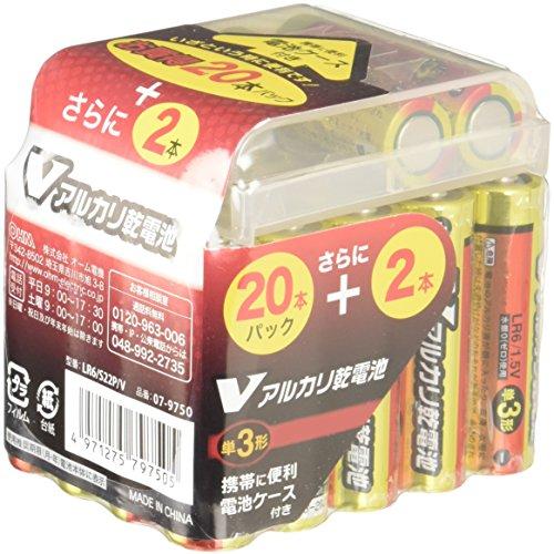 オーム電機 V-アルカリ乾電池単3形 22本パック 電池ケース付 LR6/S22P V