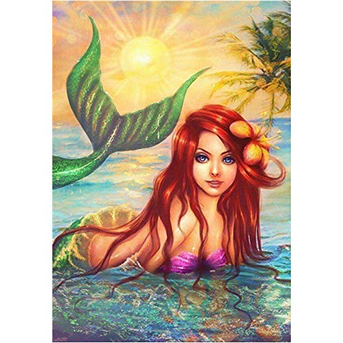 DCIDBEI 5D Full Drilling Diamond Painting Mermaid Crystals DIY Embroidery Rhinestone Painting Pasted Paint by Number Kits Easy Cross Stitch Kits Craft Kit Home Decor Wall Sticker 30X40CM(12x16 in)