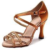 AOQUNFS Zapatos de Baile Latino Mujer Salsa y Bachata Altos Zapatos de Baile de Salón,QJ1035-7.5,Marrón,EU37