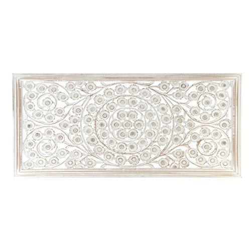 D'CASA Mural Tallado Natural Lavado Blanco de Madera para decoración, 120x60 cm