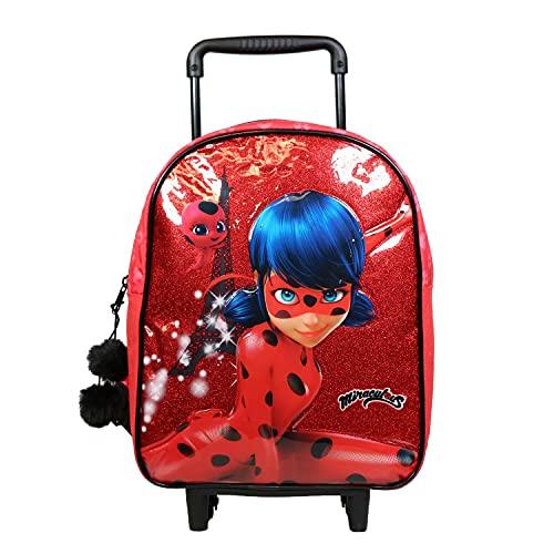 BAGTROTTER Sac à Dos à roulettes 34 cm Maternelle Miraculous/Ladybug Rouge