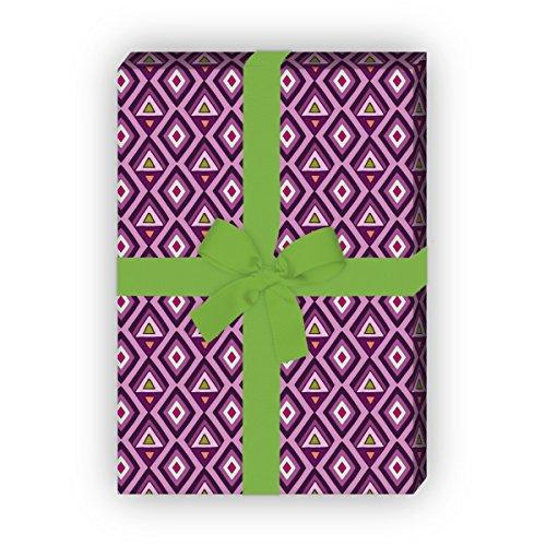 Kartenkaufrausch Batik geschenkpapier set 4 vellen, decoratief papier met geschilderde ruiten, paars, als edele geschenkverpakking, patroonpapier om te knutselen 32 x 48 cm