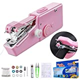 Handheld Sewing Machine, 18PCS Mini Portable Sewing Machine, Mini Handy Cordless Portable Sewing Machine for Fabric, Clothing, Curtains, Home Travel Use, DIY (Pink)