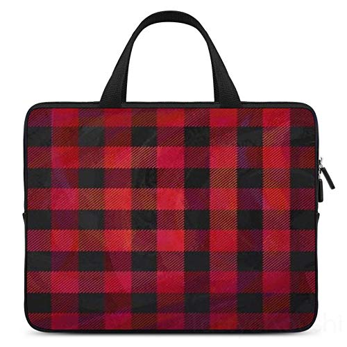 17 Inch Laptop Sleeve Checkered Plaid Red and Black Case/Water-Resistant Notebook Computer Pocket Tablet Briefcase Carrying Bag/Pouch Skin Cover for Acer/Asus/Dell/Lenovo