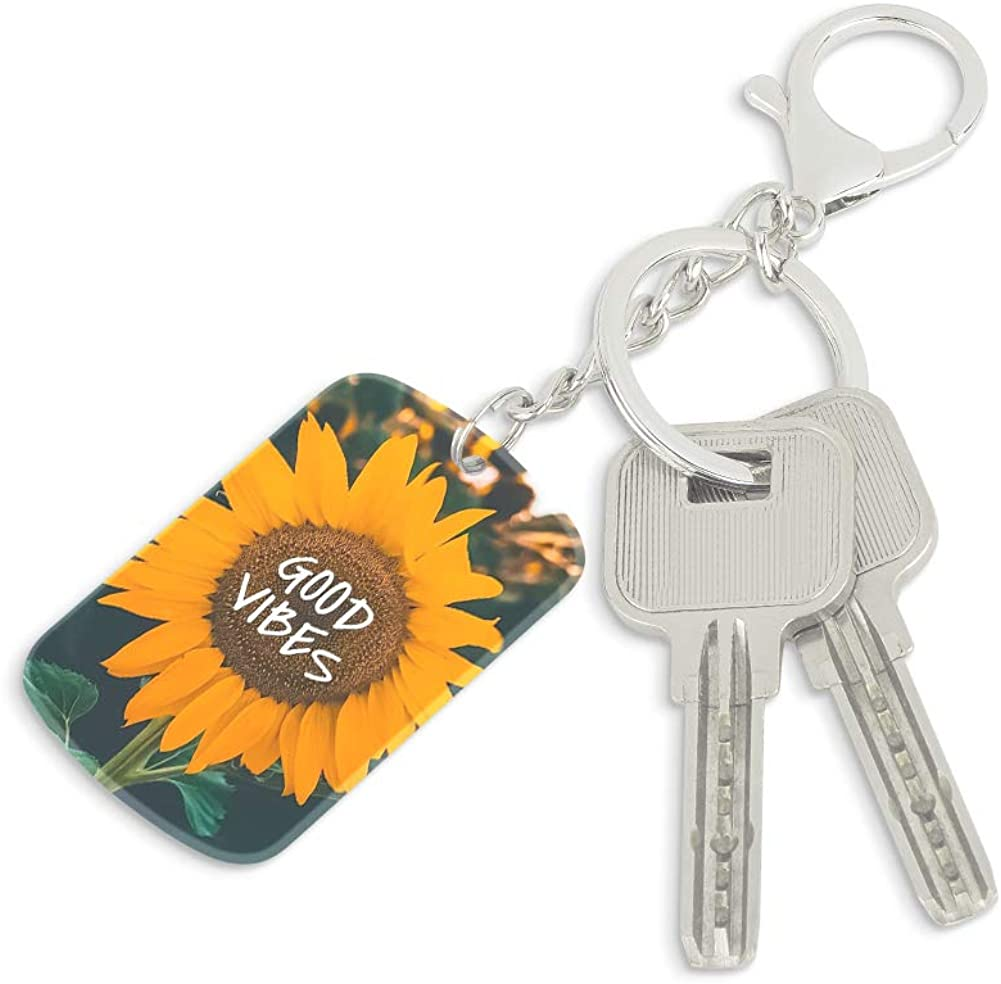 OOK Keychain Sunflower Good Vibes Square Key Ring Acrylic Snap-in Personalized Thick Durable Silver Metal Pendants for Women Keychain