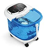 Giantex Foot Spa Bath Massager w/Heat and Bubbles, Adjustable Water Jets, Motorized Shiatsu Massage Balls & 2 Maize Rollers, Time & Temper Control, LED Display, Home Pedicure Foot Bath Tub (Navy Blue)