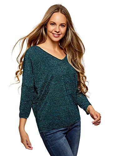 oodji Ultra Mujer Suéter Holgado con Pequeña Abertura en la Espalda, Verde, ES 34 / XXS