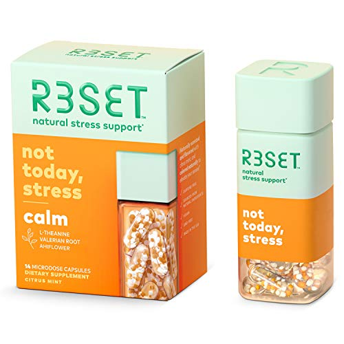 R3SET Calm   100% Natural & Botanical Stress & Anxiety Support Supplement   Relaxation & Focus Support   Immunity Support   Ashwagandha, L-Theanine, GABA   Non-GMO & Made in USA   14 Vegan Capsules