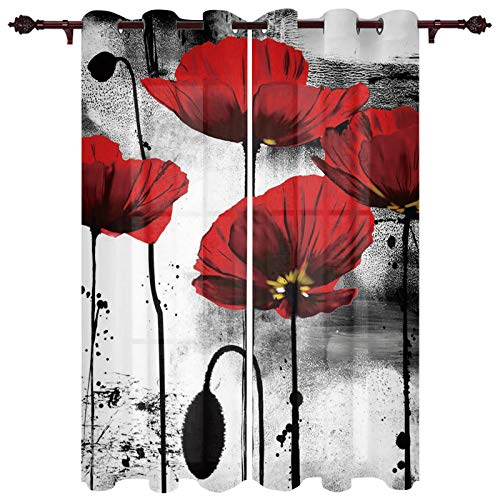 "T&H XHome Draperies & Curtains,Red Poppy Flower Ink Painting Window Curtain, 2 Panel Curtains for Sliding Glass Door Bedroom Living Room 104"" W by 96"" L"