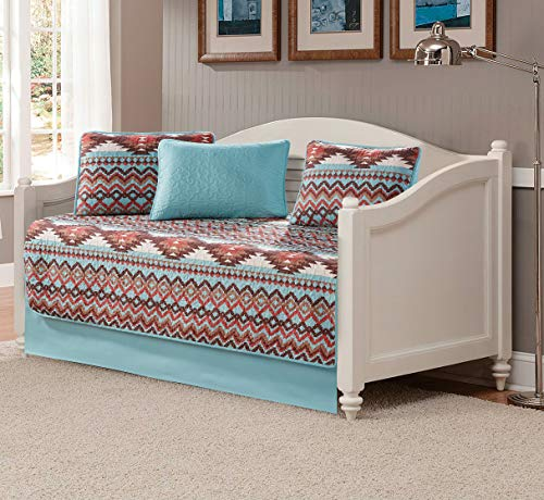 Rugs 4 Less Rustic Southwestern Quilt Stitched Western Bedspread Bedding Set with Tribal Native American Patterns - Utah (Turquoise, Daybed)