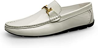 LFSP Mens Penny Loafers Boat Shoes Men's Driving Shoes Boat Moccasins Penny Loafer Casual Flat Slip On Genuine Leather Upper Round Handmade Flats A (Color : White, Size : 37 EU)