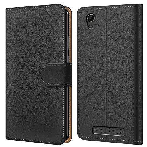 Conie BW49467 Basic Wallet Kompatibel mit ZTE Blade A452, Booklet PU Leder Hülle Tasche mit Kartenfächer & Aufstellfunktion für Blade A452 Case Schwarz