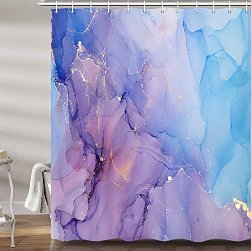 Abstract Marble Shower Curtain for Bathroom, Cool Ombre Blue Purple Gold Fabric Shower Curtains Set, Modern Cute Unique Colorful Restroom Decor Accessories, Hooks Included(72X72Inches)