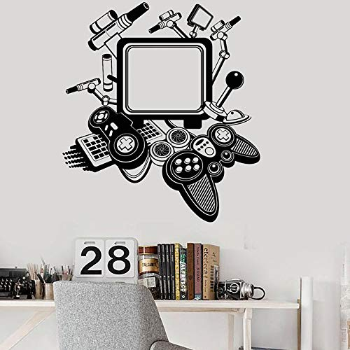 PS4 Game Controller Joysticks Muursticker Gamer Elektronische wedstrijd Cool Decor Jongens Slaapkamer Decoratie DIY Vinyl Sticker Muursticker 64x57cm
